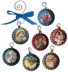 bottlecap Christmas ornaments. upcycled.  This would be great to use old Christmas cards for the images.