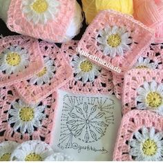 Transcendent Crochet a Solid Granny Square Ideas. Inconceivable Crochet a Solid Granny Square Ideas. Crochet Flower Squares, Crochet Daisy, Granny Square Crochet Pattern, Crochet Flower Patterns, Afghan Crochet Patterns, Crochet Chart, Love Crochet, Crochet Motif, Diy Crochet