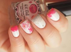 Bright pink and grey blossom nail decals/ by LaPalomaBoutique