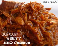 Slow Cooker Zesty BBQ Chicken!  So EASY and DELICIOUS!