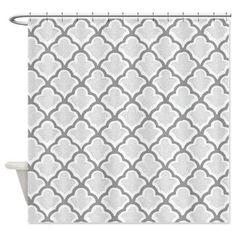 Exclusive Grey Quatrafoil Shower Curtain