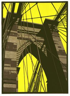 Brooklyn Bridge Print by Paul Catherall (linocut) Illustrations, Illustration Art, Linocut Prints, Art Prints, Block Prints, Wood Engraving, Urban Landscape, Mellow Yellow, Gravure