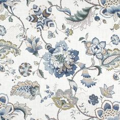 Jacobean curtains blue curtains large floral curtains flower drape cur – JLL HOME Blue And Brown Curtains, Beige Curtains, Floral Curtains, Custom Curtains, Drapery Fabric, Drapes Curtains, Curtain Panels, Bedroom Curtains, Curtain Material
