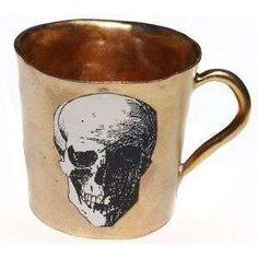 Gold Skull Handmade Mug