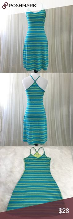 Mountain Hardwear Dress Two shades of blue and greenish-yellowish striped stretchy, cotton-blend dress with built in bra support and spaghetti strap racer-style back. Built in bra fabric is the green-yellow color and so is the side stitching.  Has a nice curved silhouette.  Great used condition.  Bust is approx 14.5 inches lying flat, and length approx 28 measured from underarm area. Hits at lower thigh on me, I'm 5'4. Mountain Hardwear Dresses