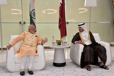 Prime Minister Narendra Modi being received on his arrival at Hamad International Airport in Doha Qatar