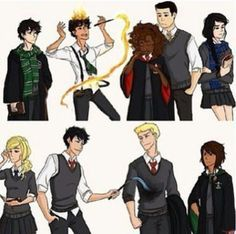 But I see Percy as a Hufflepuff, Annabeth as a Slytherin, Hazel as a Hufflepuff, and Reyna as a Gryffindor but I like the others