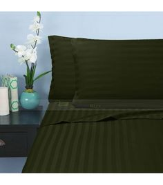 Moss Stripe Twin Sheet Set Egyptian Cotton 1000-Thread Count Queen Bed Sheets, Twin Bed Sheets, Twin Xl Sheet Sets, Double Bed Sheets, Twin Xl Bedding, Cheap Bed Sheets, Cotton Sheet Sets, Bed Sheets Online, Hotel Collection Bedding