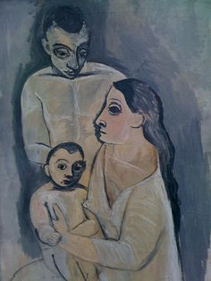Pablo Picasso Man Woman and Child (Homme femme et enfant) Paris fall Oil on canvas x cm. Kunstmuseum Basel Gift of the artist to the City of Basel Kunst Picasso, Art Picasso, Picasso Blue, Picasso Paintings, Georges Braque, Guernica, Spanish Painters, Basel, Henri Matisse
