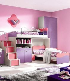 Pink and Purple with Girlish Touch for Bedroom Paint Ideas