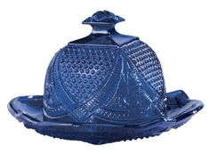LOVELY! Miles Kimball Cobalt Blue Depression Style Glass Domed Butter Dish #wishlist