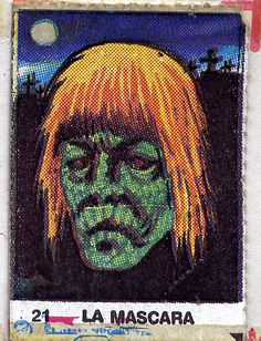 """Vintage monster stickers with a high bizarro factor. ""La Mascara"" looks like a very sick He-Man. Monster Toys, Monster Art, Vintage Comics, Vintage Art, Monster Stickers, Comic Styles, Retro Aesthetic, Pulp Art, Cultura Pop"
