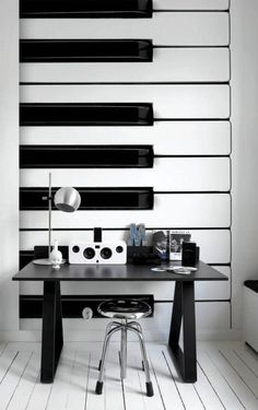 Gorgeous and fun piano wall for an office space. Talk about inspiration!