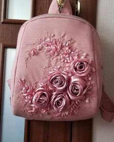 Ashen rose backpackribbons embroidered roses and dragonflies Ribbon Embroidery Tutorial, Hand Embroidery Art, Embroidery Bags, Silk Ribbon Embroidery, Embroidered Roses, Indian Embroidery, Bordado Floral, Bridesmaid Bags, Linen Bag