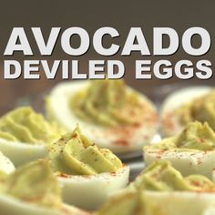Don't settle for eating boring hard-boiled eggs! Try making deviled eggs but swap out the mayo and replace with avocado to ad Healthy Deviled Eggs, Devilled Eggs Recipe Best, Avocado Deviled Eggs, Best Deviled Eggs, Deviled Eggs Recipe, Easter Deviled Eggs, Healthy Egg Recipes, Healthy Recipe Videos, Keto Recipes