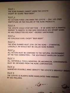 The Nine Rules Every Wile E. Coyote And Road Runner Cartoon Followed