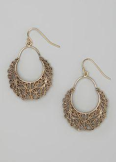 Gold Ox Filigree Gypsy Drop Earrings