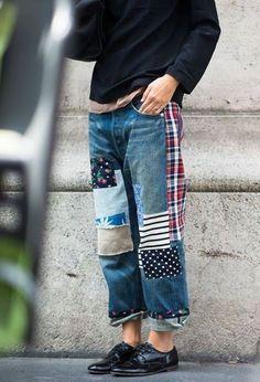 Patched boyfriend jeans