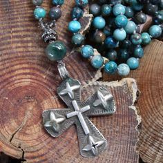 old ethiopian cross long necklace....