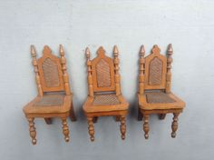ANTIQUE DOLLS HOUSE BEAUTIFULLY MADE FRUITWOOD SCHNEEGAS DINING CHAIRS | eBay