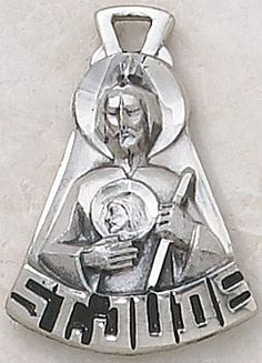 """SAINT JUDE MEDAL, Price includes shipping to all fifty states. Solid sterling silver medal, approx. 1-1/8"""" in height. Gift boxed with a complimentary 20"""" stainless steel chain. Carries the Creed lifetime guarantee."""