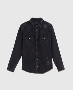 Image 6 of RIPPED DENIM OVERSHIRT from Zara Ripped Denim, Indigo, Leather Jacket, Jeans, How To Wear, Jackets, Spring Summer, Shirts, Play