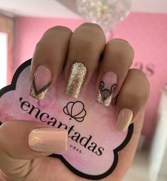Clear Acrylic Nails, Square Acrylic Nails, Semi Permanente, Gold Glitter Nails, French Nail Art, Classy Nails, Beauty Nails, Summer Nails, Pretty Nails