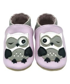 Light Purple Owl Soft-Sole Leather Bootie - Girls #zulily #zulilyfinds