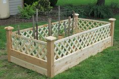 4x8 raised garden bed with lattice.  Great for keeping the rabbits out and the vegetables in!