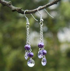 Bastelset Ohrringe machen mit Swarovski Kristall und Wachsperlen, violett