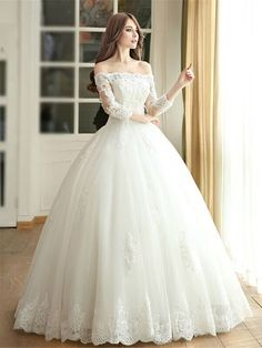 Amazing Ball Gown Off-the-shoulder Tulle Floor-length Appliques Lace 3/4 Sleeve Wedding Dresses #DGD00022667