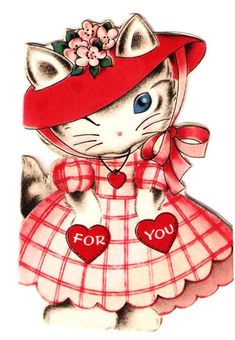 Vintage Valentine Card Sweet Kittens Cats Paper Dolls Norcross
