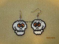 Scary Skull Bonehead Halloween earrings by EagleplumeCreations, $14.99