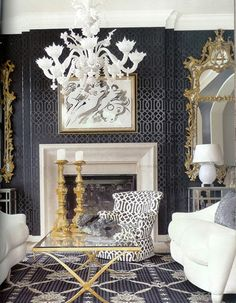 The White Chandelier And Touches Of Gold Glitz Instantly Make This E Glamorous Ultra Chic Subtle Pattern On Wallpaper Rug Gives