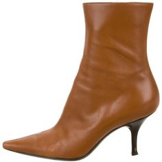 Pre-owned Sergio Rossi Pointed-Toe Ankle Boots ($75) ❤ liked on Polyvore featuring shoes, boots, ankle booties, brown, pointy-toe ankle boots, brown ankle boots, brown boots, short brown boots and brown booties