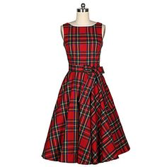 Women's+Casual/Daily+Vintage+A+Line+Dress,Plaid+Round+Neck+Midi+Sleeveless+Red+Cotton+Summer+–+USD+$+16.99