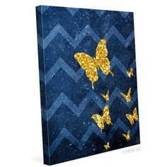 "Click Wall Art Golden Butterflies Graphic Art on Wrapped Canvas Size: 20"" H x 16"" W x 1.5"" D"