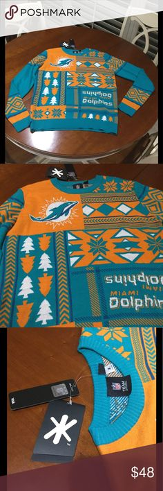 Miami Dolphins Christmas Sweater Perfect gift for Christmas or maybe Ugly Christmas  Party. This is an official team apparel sweater could be worn by male or female Sweaters Crew & Scoop Necks