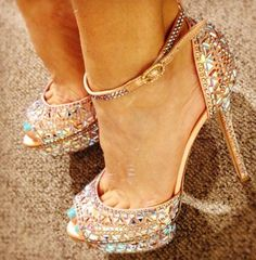 Be-jeweled and stunning! Sure wish I could wear shoes like this, but they don't go with wobbling legs and MS!