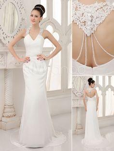 Robe de mariage sirène en satin ivoire pailleté avec perles col V à dos…