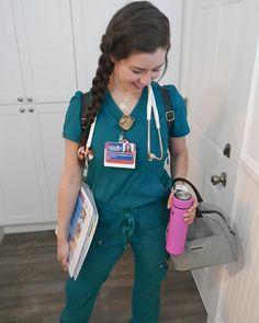 3c9998b1337 Cute photo ideas for nurse in scrubs, stethoscope, wear Figs scrubs.  Creative and cute nursing pictures. Koi scrubs. Best nursing hairstyles.