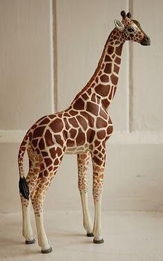 Paper Mache Animal Sculpture Sitting Giraffe by PaperUnleashed ...