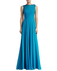 Silk Crinkle Georgette Draped Bodice Gown with Organza by St. John Collection at Neiman Marcus.
