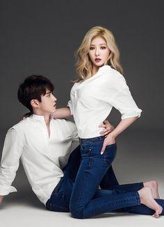 Hyuna Photoshoot, Korean Couple Photoshoot, South Korean Girls, Korean Girl Groups, Hyuna Tumblr, Park Hye Min, Hyuna Kim, Couple Photography Poses, Denim Branding