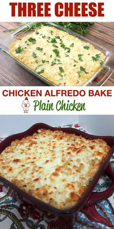 Three Cheese Chicken Alfredo Bake - great make-ahead pasta dish. Easy Dinner Recipes, Soup Recipes, Cooking Recipes, Potato Recipes, Pasta Recipes For A Crowd, Recipes With Ricotta Cheese, Cream Cheese Recipes Dinner, Recipes Using Cream Cheese, Steak Recipes