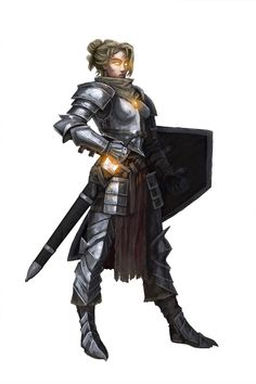 Female Aasimar Fighter or Paladin- Sword Shield Heavy Armor Dnd Characters, Fantasy Characters, Female Characters, Fantasy Figures, Armadura Medieval, Fantasy Armor, Medieval Fantasy, Fantasy Races, Armor Concept