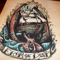 Kraken Octopus From the DeepTraditional Maritime Tattoo