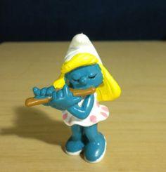Smurfette Flute Player Rare Vintage Smurf Figure Music Flautist Lot 20204 2.0204