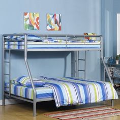 Bedroom Furniture For Kid's Twin Over Full Bunk Bed Mattress Platform Full Size Bunk Beds, Bunk Beds Small Room, Metal Bunk Beds, Bunk Beds With Stairs, Kids Bunk Beds, Small Rooms, Loft Beds, Contemporary Bunk Beds, Silver Bedding