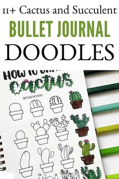 11+ Cactus Bullet Journal Doodles - Amazing inspiration to add some greenery to your bullet journal. In my opinion, cacti and succulents are some of the easiest plants to doodle. Try For yourself and make it next months bullet journal theme! Borders Bullet Journal, Bullet Journal Hacks, Bullet Journal Notebook, Bullet Journal Aesthetic, Bullet Journal Ideas Pages, Bullet Journal Inspiration, Book Journal, Bullet Journal Halloween, Cactus Doodle